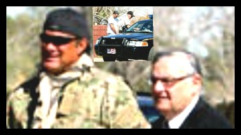 Actor Steven Seagal, convicted cockfighter Jesus Llovera (insert) and Sheriff Joe Arpaio.