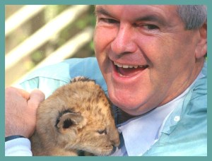 Newt Gingrich with lion cub. (Tumblr photo)