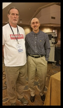 Merritt Clifton (left) with Vegan Outreach cofounder Jack Norris (right). (Beth Clifton photo)