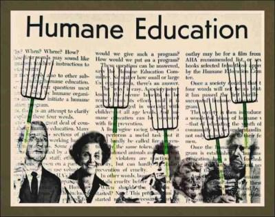 Muckrake (n): synonym for crusading journalist. From right: Fred Myers, Eppie Lederer (Ann Landers), Cleveland Amory, Ann Cottrell Free, & Henry Spira. (Beth Clifton collage)