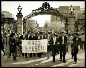 Mario Savio at Sather Gate, Berkeley
