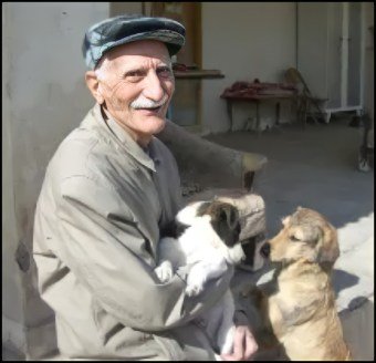Iranian man with dogs.
