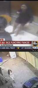 Above: security video of Ray Rice assaulting fiancé; below, security video of Klonda Richey, killed by two Cane Corsos in Dayton, Ohio, on February 6, 2014.