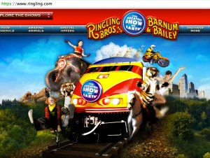 Ringling has announced plans to end elephant acts by 2018.  Already the elephant has a diminished place in the Ringling Bros. Barnum & Bailey web logo.