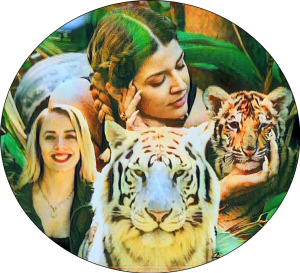 Tawny Antle and Tilakum Watterson with tigers