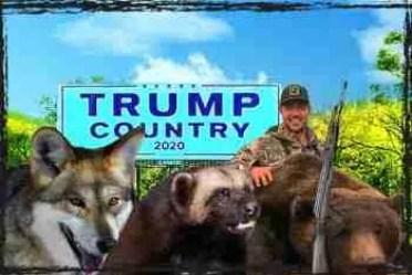 Donald Trump Jr. & dead bear, wolf, & wolverine