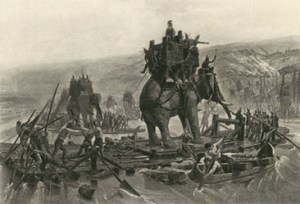 Artist's rendition of Hannibal's army crossing the Rhone River.