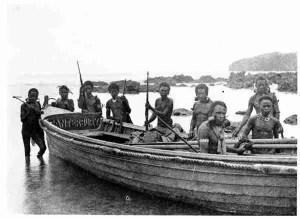Solomon Islanders photographed by Jack London in 1917.