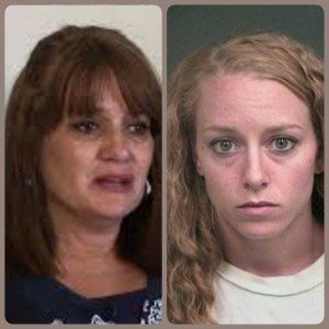 Shannon Dominguez, left, who called 911; Krista Riddell, right, who ran her over.