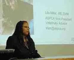Lila Miller speaking at the Kansas State University College of Veterinary Medicine.