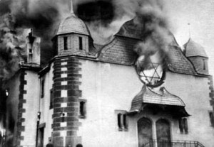 A synagogue burned on Kristallnacht.