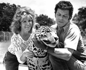 Pat Derby, Clyde the leopard, and Ted Derby in 1973.