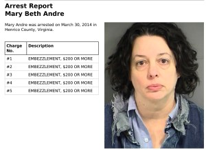Mary Beth Andre arrest report