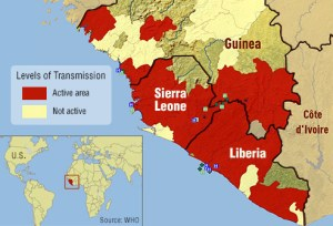 2014-2015 Ebola virus pandemic. (World Health Organization map)