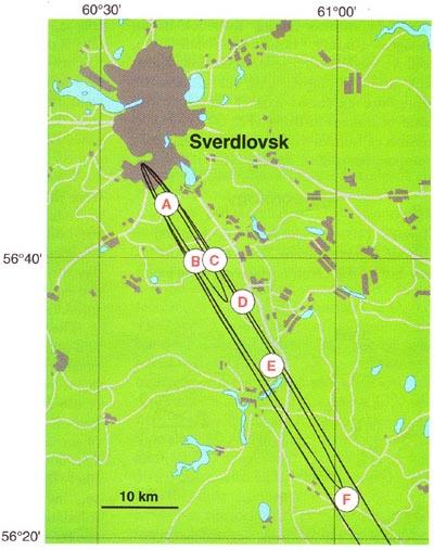 Six villages where livestock died from anthrax in the 1979 anthrax outbreak in Sverdlovsk. Note the northwest-southeast orientation of the affected villages. UCLA
