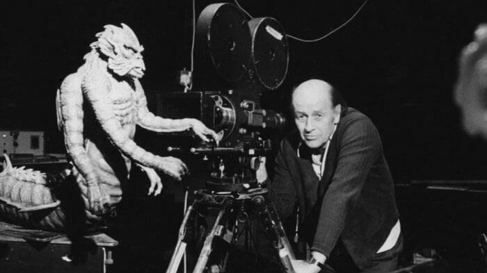 Ray Harryhausen sur le tournage de son film
