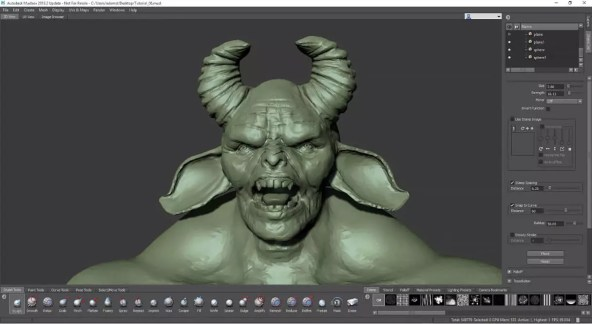 Interface de Mudbox