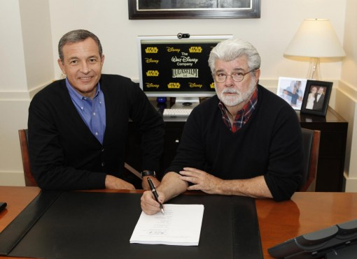 Robert A. Iger, chairman and CEO, The Walt Disney Company, and George Lucas, chairman and founder, Lucasfilm sign the agreement for The Walt Disney Company to acquire Lucasfilm Ltd.