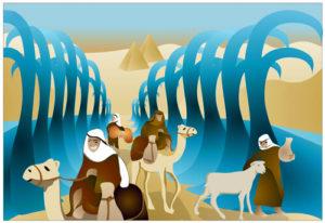 בני ישראל חוצים הגדה של פסח