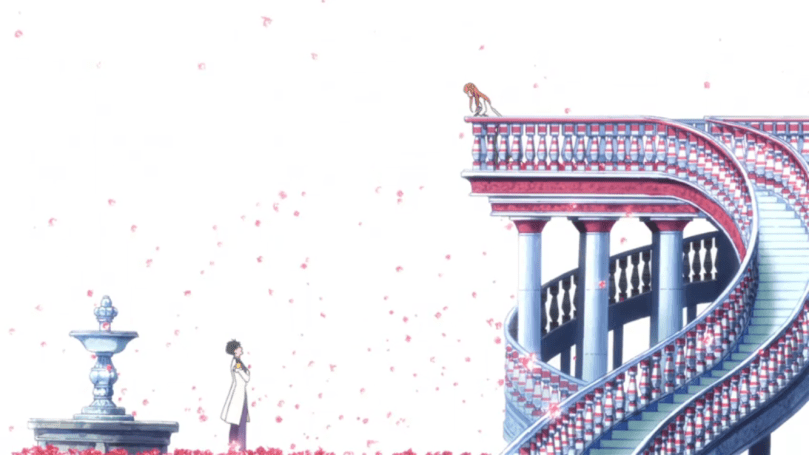 A stylized image of a girl atop a spiral staircase looking down at a boy by a fountain