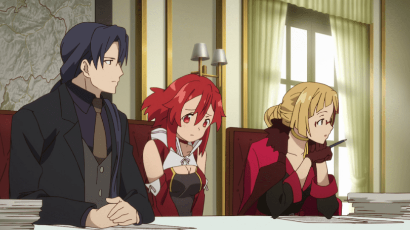 Izetta looks uncomfortable between two people at a table covered in papers