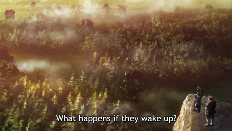 """A forest. Subtitles read """"What happens if they wake up?"""""""