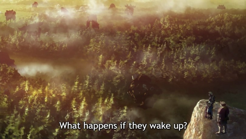 "A forest. Subtitles read ""What happens if they wake up?"""