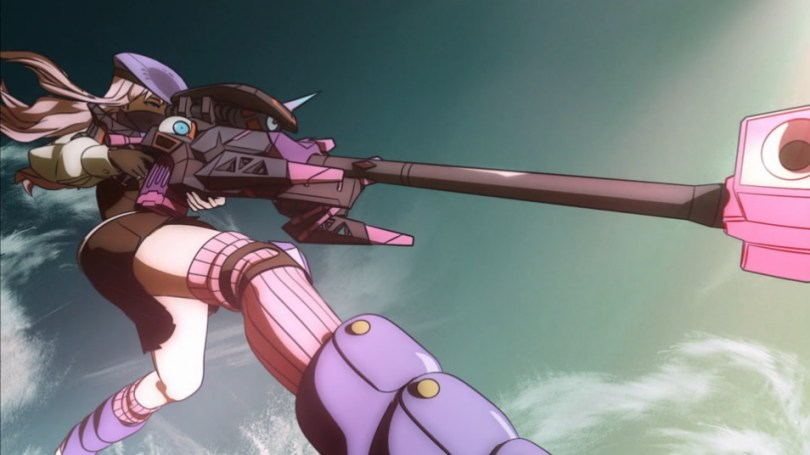A girl in a skirt holds a giant gun. The camera angle is from the bottom, but the focus is on weapon and her pose.