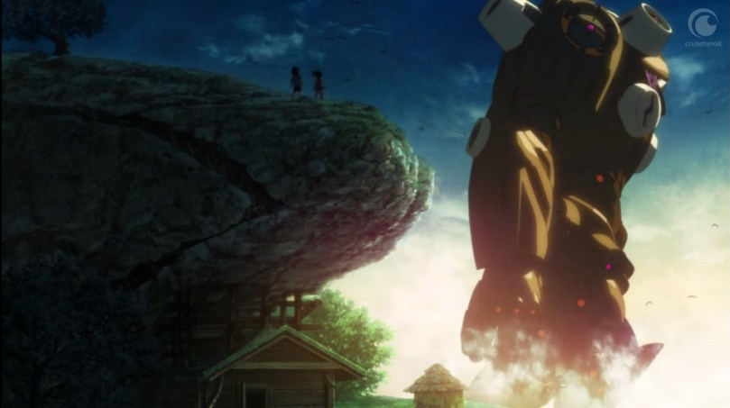 A giant golem-like creature towards over a house and click. On the cliff are the silhouettes of two kids.
