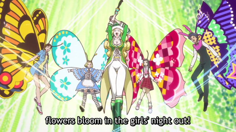 """Liszt in her composer clothing; the other characters have butterfly wings. She says """"flowers bloom in the girls' night out!"""""""