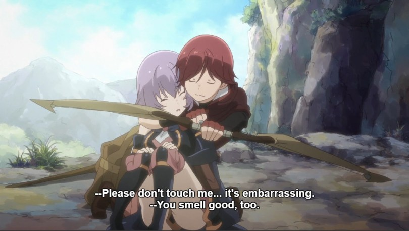 """Yume cuddles Shihoru. Shihoru says """"Please don't touch me.. it's embarrassing."""""""