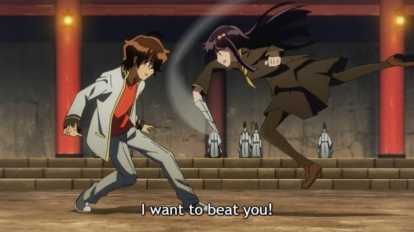 "Benio jumps at Rokuro with a knife and says ""I want to beat you!"""