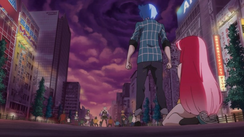 A boy faces a distant figure under a cloudy sky. A girl crouches behind him.