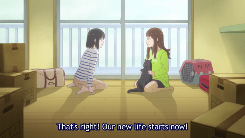 """Miyu and Tomoka sit with Daru the cat in their shared apartment, the room empty apart from some boxes. Subtitle: """"That's right! Our new life starts now!"""""""