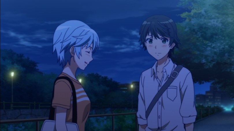 Yuu and Fuuka are walking home together at night in casual clothes, Fuuka laughing and Yuu smiling as he watches her, a slight blush on both their cheeks.