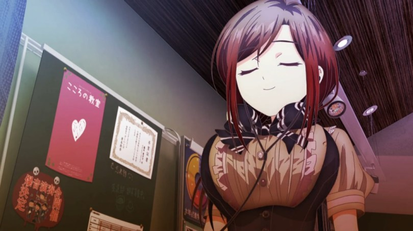 A girl with earphones in smiles with her eyes shut. Her very large breasts are at the high point of a very large bounce.