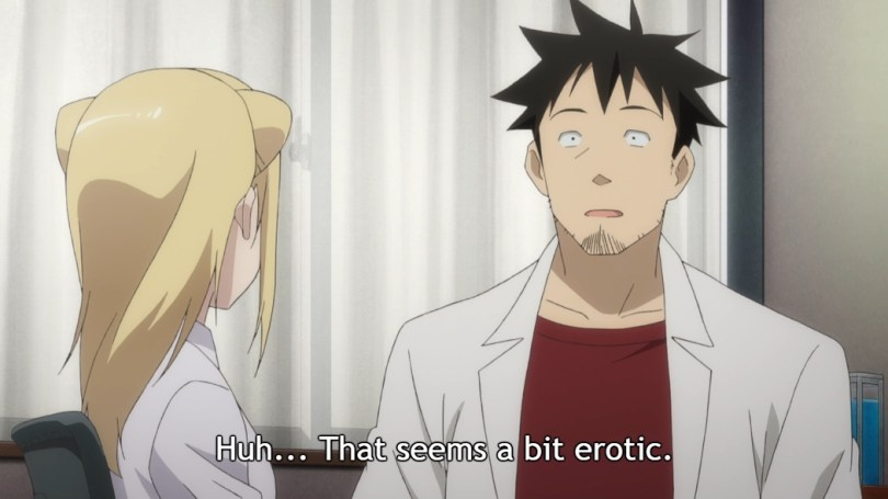 """Takahashi looks at Hikari in surprise as they both sit in his office. Subtitle: """"Huh... That seems a bit erotic."""""""