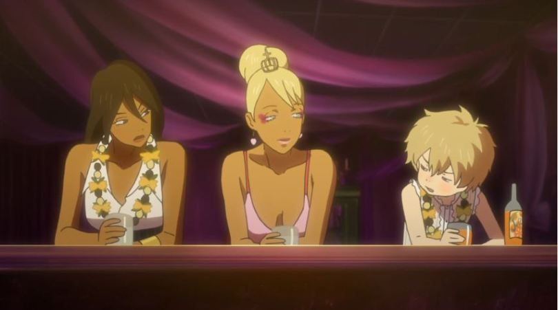 Sexy adult women Michiko and Pepệ, talk to young Hana at a bar in Michiko & Hatchin