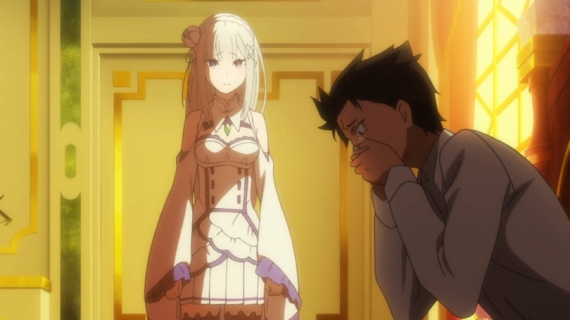 Subaru holds his hands over his mouth in horror while Emilia looks on