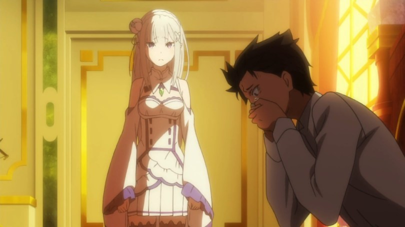 Emilia, with long silver hair and a typical isekai girl's outfit (frills, short skirt, thigh high legwear) stands in the sunlight coming through the window in the background looking seriously at Subaru, who sits on the bed in the shadow, leaning forward with his hands clamped over his mouth and a desperate look in his eyes.