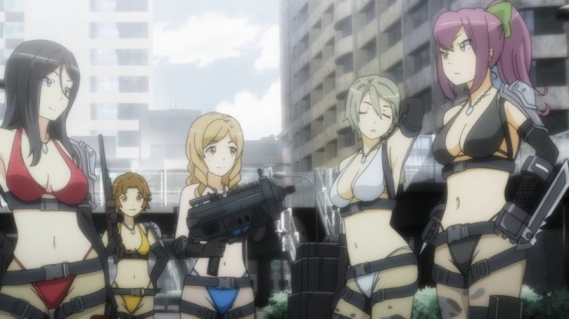 The final battle group of colours, this time all in string bikinis of different colours, plus black utility straps.