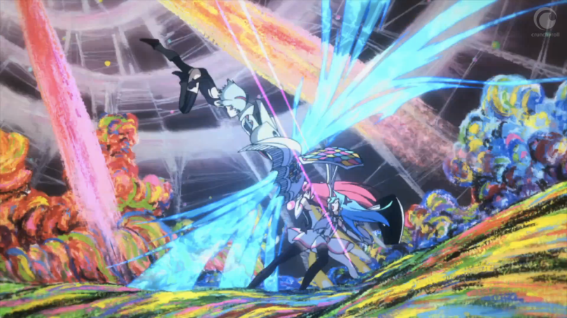 A magical girl leaps down from the sky, smashing against Papika's shield as she protects Cocona, on a colourful, stylised backdrop of Pure Illusion.