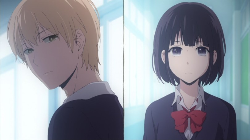 The screen divided by a line going down the middle, with Mugi's face in the left half looking over his shoulder at Hana, whose face is in the right half.