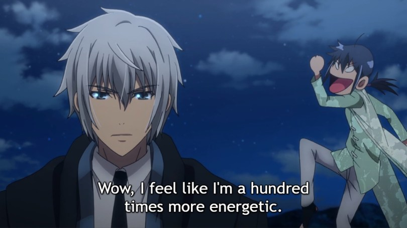 "Ki is in the foreground, wearing a dark suit and coat with short silver hair and blue eyes, looking handsome and serious. In contrast, Keika is marching around in the background with a cartoonified face looking very pleased. Subtitle: ""Wow, I feel like I'm a hundred times more energetic."""