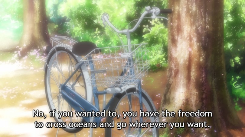 "Soft focus image of a blue bicycle with a basket, parked next to a tree on a sunny day. Subtitle: ""No, if you wanted to, you have the freedom to cross oceans and go wherever you want."""