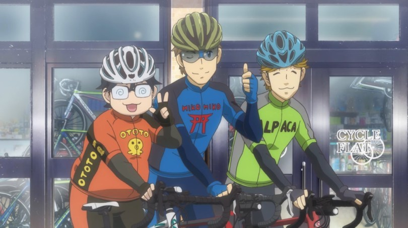 Three men in cycling gear, characters who appear in the opening credits but have not been introduced yet, stand next to each other with their bicycles, smiling at us.