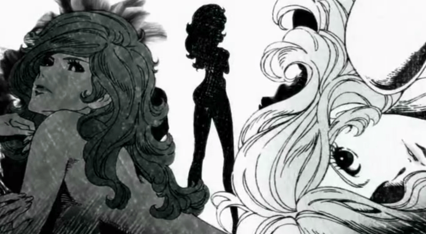 Two close-up black-and-white images of Fujiko Mine frame the image, with a silhouette of her from behind in the center