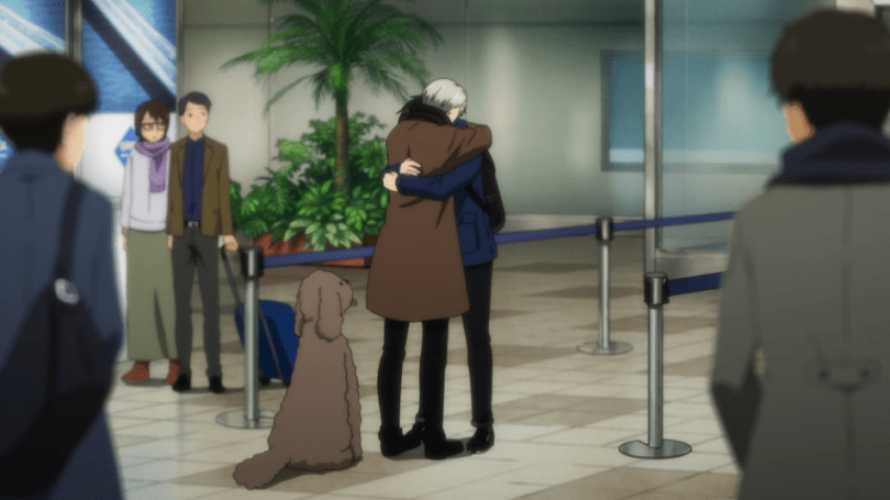 Yuri and Victor embrace at the airport in Yuri!!! on ICE, after being separated for a few days during a competition.