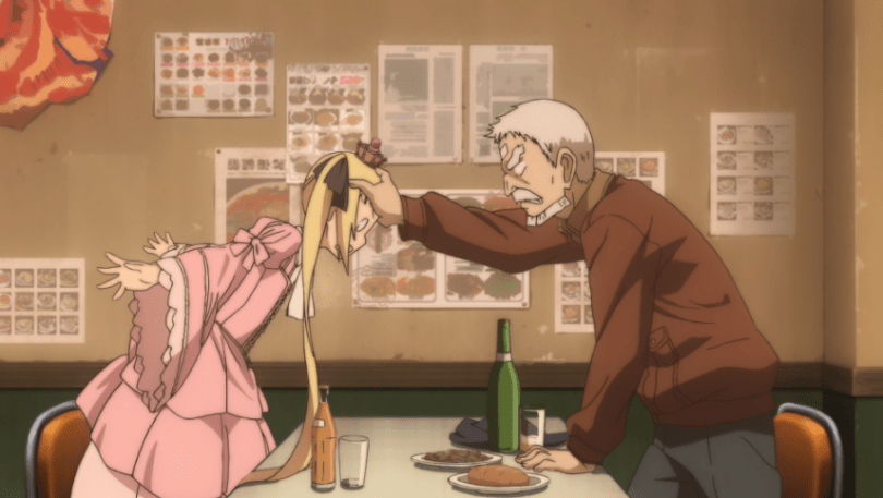Zoroku stands up, looking annoyed, with his head on Sana's head, holding her back as she stands on the other side of their restaurant table in a pink, frilly dress.