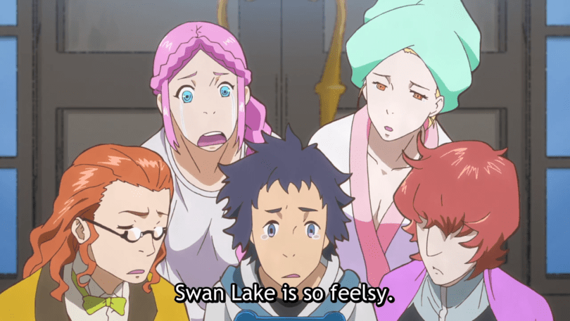 "The gang learns about the ""feelsy"" ballet, Swan Lake, looking unimpressed."